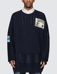 Raf Simons Oversized Sweater With Patches Blue