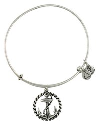 Alex And Ani Nautical Anchor Charm Bangle Silver