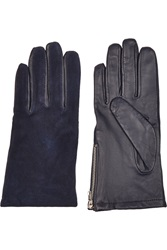 Sandro Alexy Leather And Suede Gloves Blue