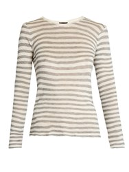 Atm Anthony Thomas Melillo Distressed Long Sleeved Striped T Shirt Grey White