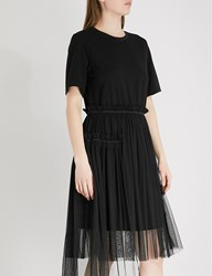 Izzue Gathered Jersey And Tulle Dress Black