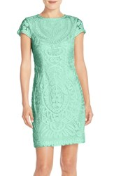 Women's Js Collections Short Sleeve Soutache Cocktail Dress Aqua