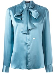 Dsquared2 Draped Long Sleeved Shirt Blue