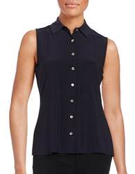 Tommy Hilfiger Button Down Sleeveless Blouse Midnight