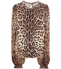 Dolce And Gabbana Leopard Print Stretch Silk Blouse Multicoloured