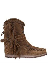 El Vaquero 70Mm Sansa Fringed Suede Wedge Boots