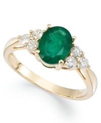 Macy's 14K Gold Ring Emerald 1 1 10 Ct. T.W. And Diamond 1 3 Ct. T.W. Oval Ring