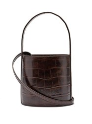Staud Bissett Crocodile Effect Leather Bucket Bag Dark Brown