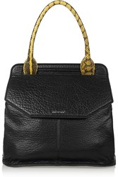 Mcq By Alexander Mcqueen Deysi Elaphe Trimmed Textured Leather Tote Black
