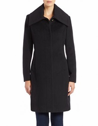 Cole Haan Signature Oversized Collar Wool Blend Coat Black