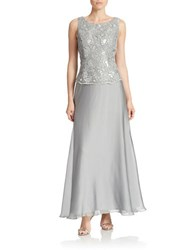 Patra Lace Popover Gown Silver