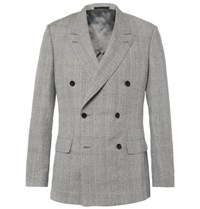 Kingsman Grey Harry Double Breasted Prince Of Wales Checked Linen Wool And Silk Blend Suit Jacket Light Gray