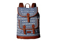 American West Santa Fe Backpack Navy Blue Brown Backpack Bags