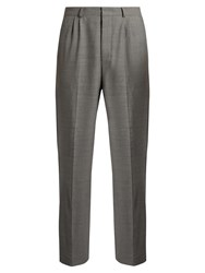 Ami Alexandre Mattiussi Mid Rise Wide Leg Stretch Wool Trousers Grey