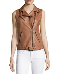 Haute Hippie Sleeveless Leather Belted Vest Tawny