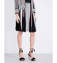 Oscar De La Renta Pleated Silk Chiffon And Knitted Skirt Blk White Cayenne