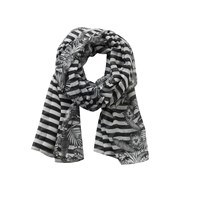 Betty Barclay Long Striped Floral Print Scarf Black White