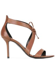 Premiata Stiletto Heel Tie Front Sandal Brown