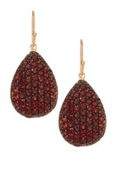 Savvy Cie Two Tone Garnet Teardrop Earrings Red
