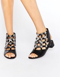 Eeight Gisele Black And Silver Star Sandals Black