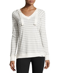 Marc Ny Performance Striped Hooded Long Sleeve Tee Ivory Light Gray