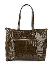 Valentino Embossed Leather Tote Green