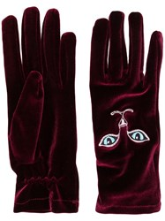 Vivetta Cat Embroidered Gloves
