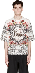 Dolce And Gabbana White Linen Printed T Shirt
