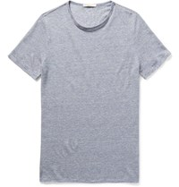 Onia Chad Striped Knitted Linen T Shirt Blue