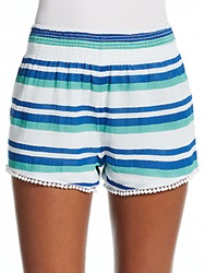 Saks Fifth Avenue Red Striped Lace Trimmed Shorts Cobalt White