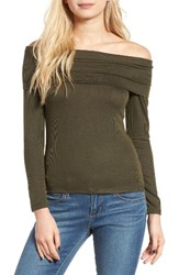 Sun And Shadow Women's Off The Shoulder Tee Olive Burnt