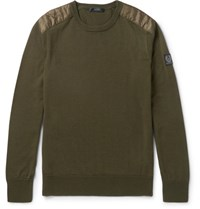 Belstaff Kerrigan Quilted Shell Trimmed Virgin Wool Sweater Green