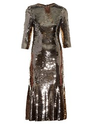 Dolce And Gabbana Bi Colour Sequinned Midi Dress Silver