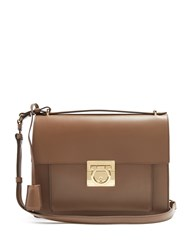 Salvatore Ferragamo Marisol Leather Shoulder Bag Light Brown