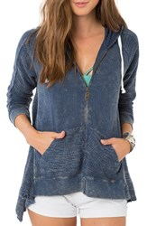 O'neill Women's 'Dew' Zip Cotton Hoodie Insignia Blue