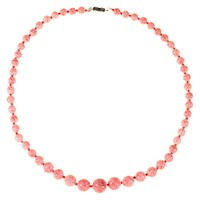 Alice Joseph Vintage 1950S Silver Toned Speckled Glass Bead Necklace Pink