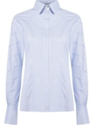 Giuliana Romanno Stripe Panel Shirt Blue