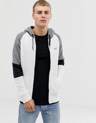 Hollister Colourblock Logo Full Zip Hoodie In White Grey Black White Grey Black
