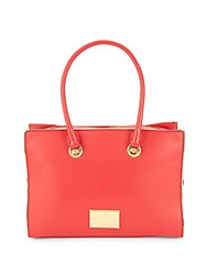 Love Moschino Top Handle Leather Tote Red
