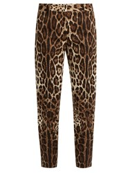 Dolce And Gabbana Leopard Print Straight Leg Stretch Cotton Trousers