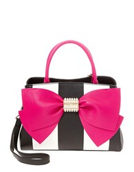 Betsey Johnson Rainbow Bow Front Satchel Black Stripe