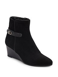 Aquatalia By Marvin K Julianna Suede Wedge Booties Black