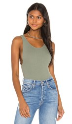Only Hearts Club Tank Bodysuit In Sage. Olive