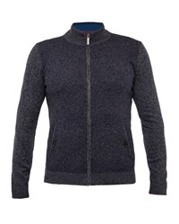 Ted Baker Men's Conrad Funnel Neck Zip Up Cardigan Navy