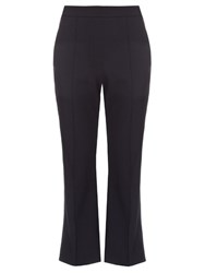Ellery Bulgaria Flared Leg Cropped Trousers Navy