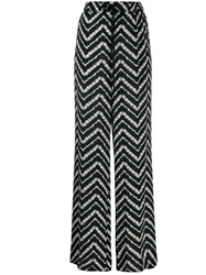 Twin Set Zig Zag Print Flared Trousers Black