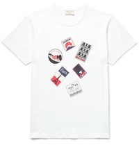 Maison Kitsune Slim Fit Printed Cotton Jersey T Shirt White