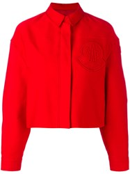 Moncler Gamme Rouge Cropped Boxy Jacket Women Silk Cotton 1 Red