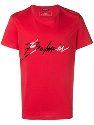 Balmain Logo T Shirt Red