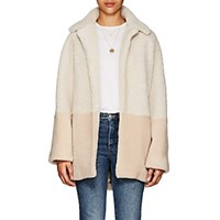 Martin Grant Colorblocked Shearling Coat Ivory